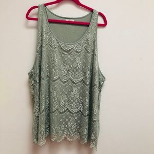 Maurices sage green lace tank size 4X // M12